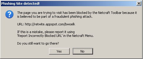 Netcraft warning message