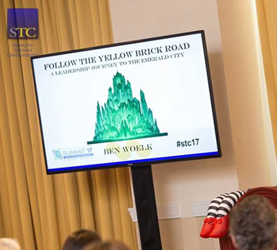 Title slide for STC Summit 2017 presentation, Follow the Yellow Brick Road: A Leadership Journey to the Emerald City